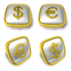 Dollar and EUR 3d metalic square Symbol button . 3D Icon Design