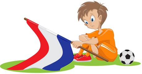 Sad Holland soccer fan. Vector cartoon