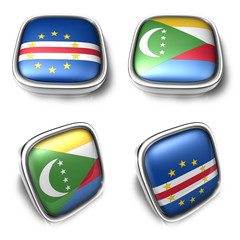 Cape Verde and Comoros 3d metalic square flag button. 3D Icon De