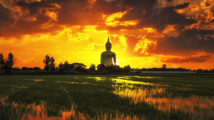 The Big Golden Buddha on sunrise