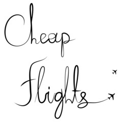 "Handwritten calligraphic ""Cheap flights"" vector text"