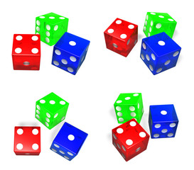 3D Dice icon tricolor. 3D Icon Design Series.