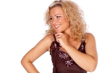 Lachende blonde Frau
