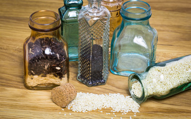 Sesami seed and rice in bottles