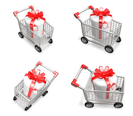 3D Shopping cart and purchase icons. 3D Icon Design Series.