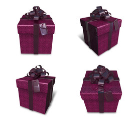 3D purple square gift box set. 3D Icon Design Series.