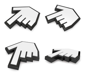 3D Alignment of  hand cursor icon. 3D Icon Design Series.