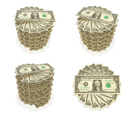 3D Top Icon accumulated dollars. 3D Icon Design Series.