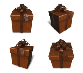 3D brown rectangular gift box set. 3D Icon Design Series.