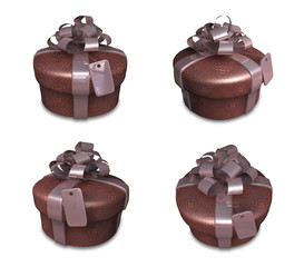 3D brown round gift box set. 3D Icon Design Series.
