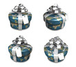 3D earth round gift box set pattern. 3D Icon Design Series.