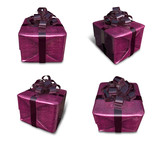 3D purple wrapped gift box set. 3D Icon Design Series.