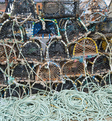 Lobster pots on a quayside