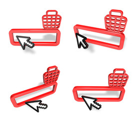 3D Shopping search box and arrow icon. 3D Icon Design Series.