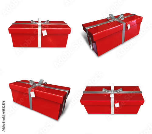 3D red color rectangular gift box set. 3D Icon Design Series.