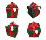 3D checkered square gift box set. 3D Icon Design Series.