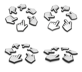 3d big white cursor range four set