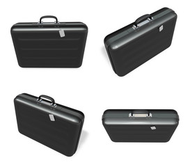 3d black briefcase range four set