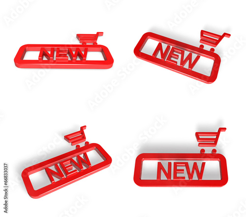 3D NEW icons and Shopping search box. 3D Icon Design Series.