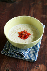 Healthy homemade tasty oatmeal porridge
