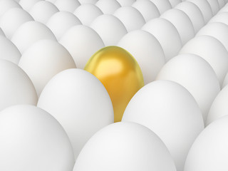 Golden Egg Indicates Odd One Out And Alone