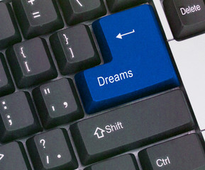 Keyboard with key  for dreams