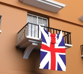 Balcony with English flag