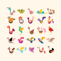 Bird vector icon set