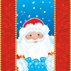 Grandfather Frost. Santa Claus in red frame with patterns.
