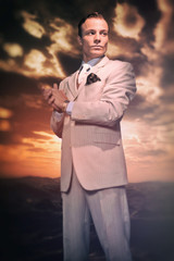 Retro fashion business man wearing white striped suit and tie. H