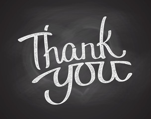 Chalkboard phrase Thank you - Hand written phrase
