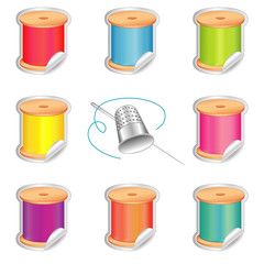 Needle, Threads, Thimble, Shaded Stickers, summer beach colors