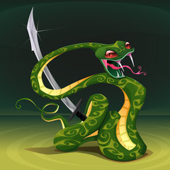 Poisonous snake with saber.