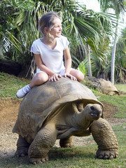 girl Riding Giant Turtle