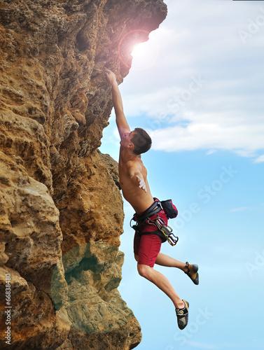 Plexiglas Alpinisme Climber climbing