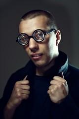 Cool nerd in glasses