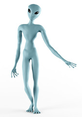 Alien Humanoid Full-length Standing Pose. Isolated on White