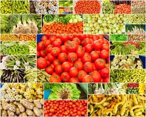 étalage de légumes sur le marché