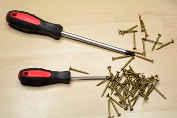 Schraubenzieher und Holzschrauben