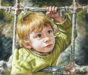 oil painting on canvas of a blond child