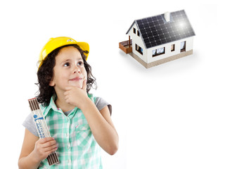 Bauarbeiter mit Haus