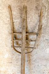 Old wood pitchfork