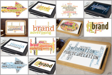 variation of brand marketing word clouds