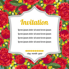 Invitation over red flowers