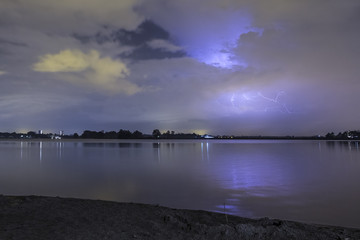 Thunderstorm at the beach. Shot from a timelapse.