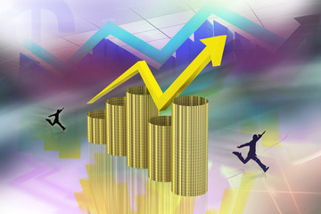 digital illustration of color background showing rise in profit
