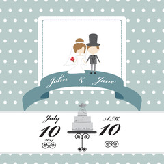wedding invitation card on polka dot pattern