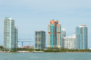 Modern residencial buildings on Miami Beach