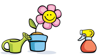 cartoon flower in pot with watering can and sprayer