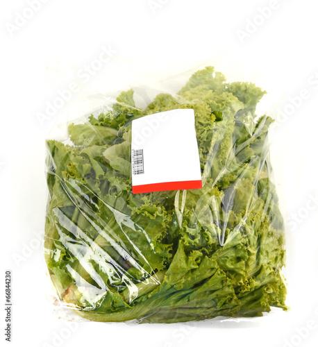 iceberg lettuce in plastic bag package